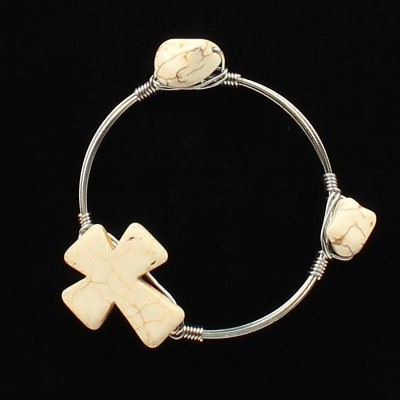 Blazin Roxx Wired Stone Cross Bangle Bracelet