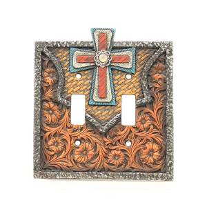 Western Moments Center Cross Double Switch Plate