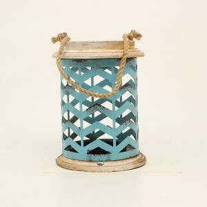 Western Moments Distressed Metal Chevron Candle Holder