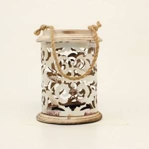 Western Moments Distressed Metal Scrolled Cutout Candle Holder
