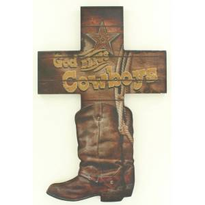Western Moments God Bless Cowboys Cross Boot
