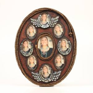 Western Moments Horse Shoe Wing Oval 8 Pic Frame