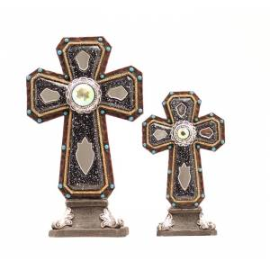 Western Moments Mirror Accent Table Cross Set