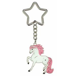Kelley Pink Glitter Trotting Horse Keychain