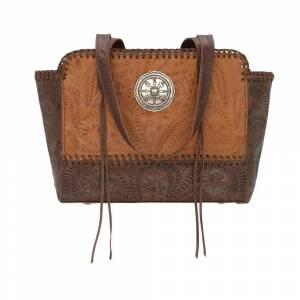 American West Annies Secret Zip Top Tote With Secret Compartment