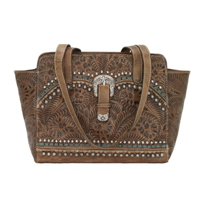 American West Blue Ridge Zip Top Tote With Secret Compartment