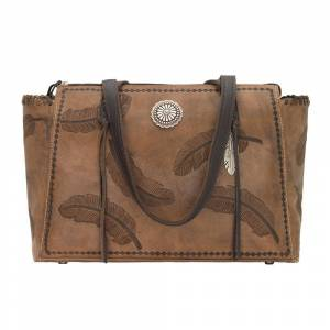 American West Sacred Bird Zip Top Tote With Secret Compartment
