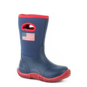 Roper Kids Barnyard Patriot Western Rubber Barn Boot