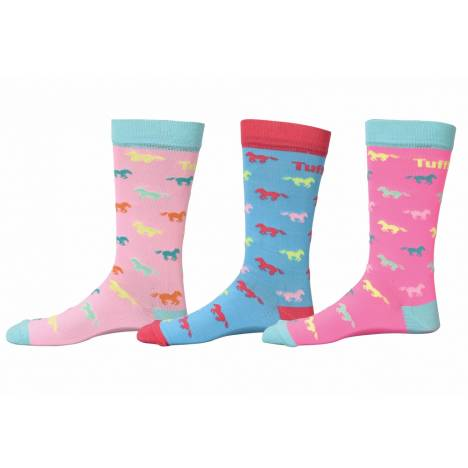 Tuffrider Neon Pony Socks - 3 Pack