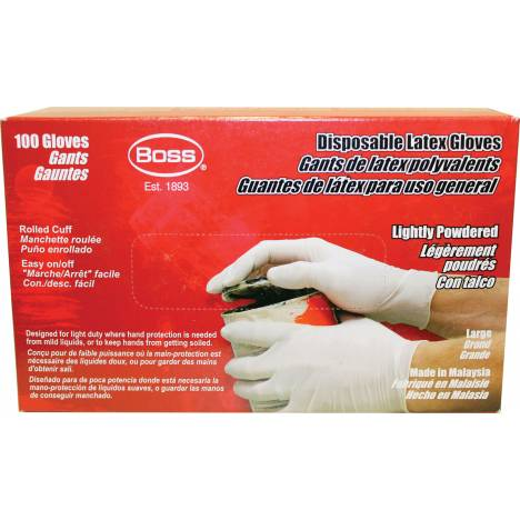 Boss Disposable 3 Mil Powdered Latex Glove - 100 Count