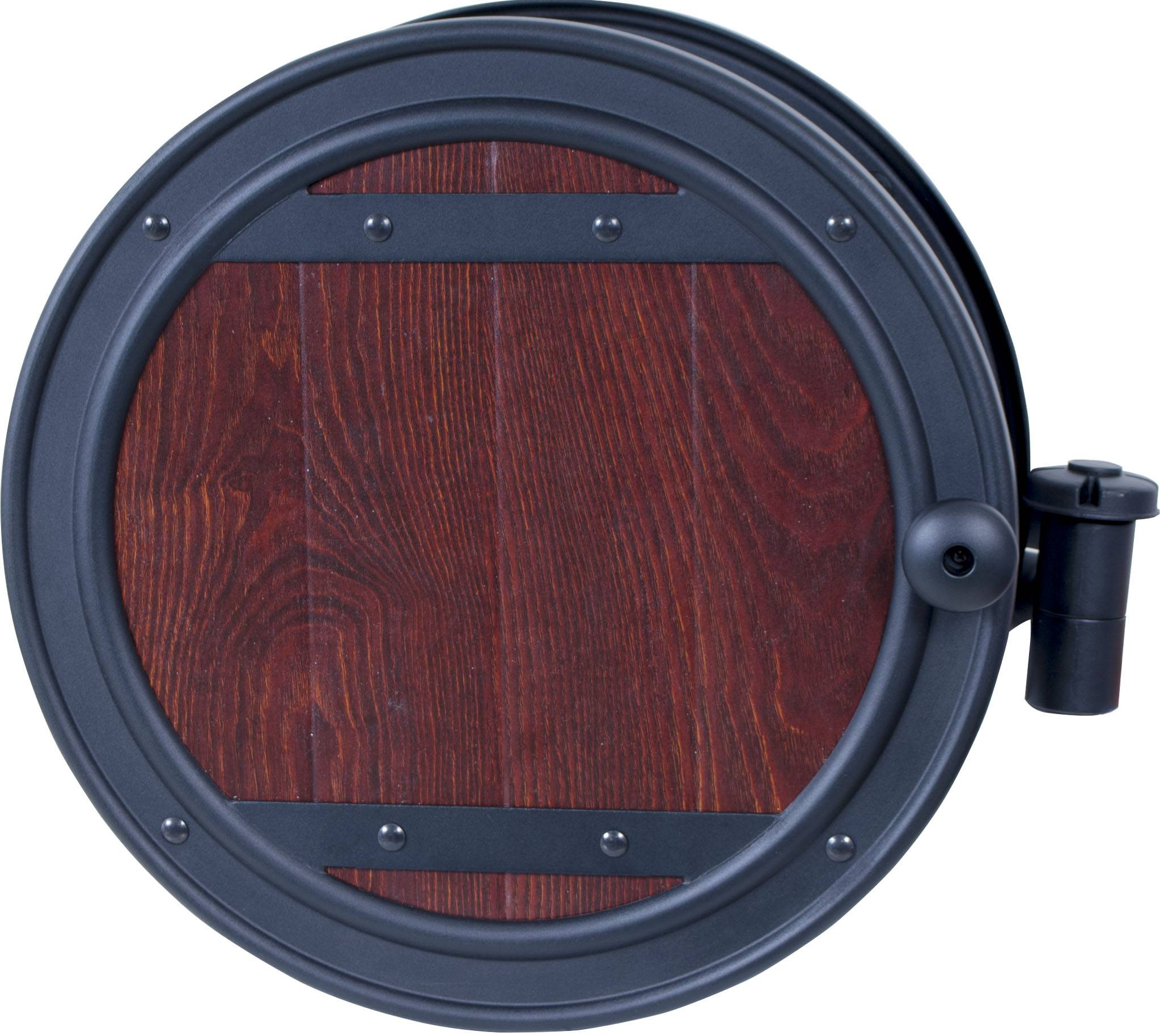 Wall Mount Hose Reel With Whiskey Barrel Finish