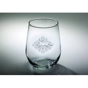 Kelley Gallop Floral Etched Stemless Wine Glass