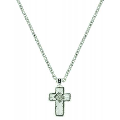 Montana Silver Banded Feathered Cross Necklace