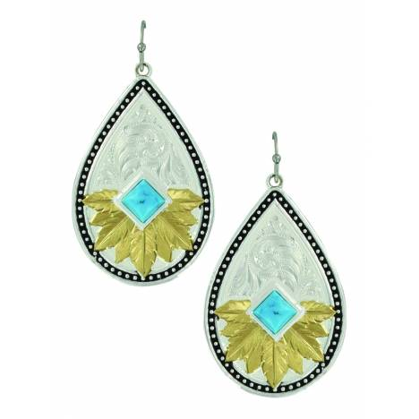 Montana Silver Feathered Desert Flower Turquoise Earrings