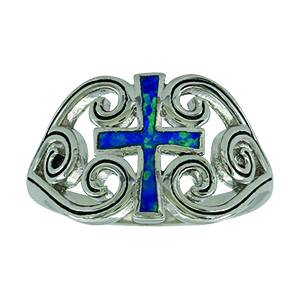 Montana Silver River of Lights Filigree Water Lights Cross Ring