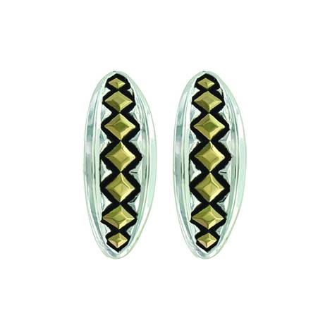Montana Silver Two Tone Diamond Impressions Cuff Earrings