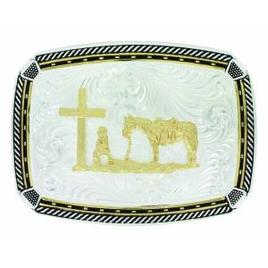 Montana Silver Two Tone Fastened at All Four Corners Buckle with Christian Cowboy