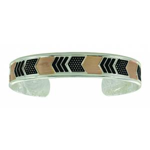 Montana Silver Two Tone Layered Chevrons Cuff Bracelet