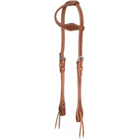 Tough-1 Basketweave One Ear Headstall with Tie Ends