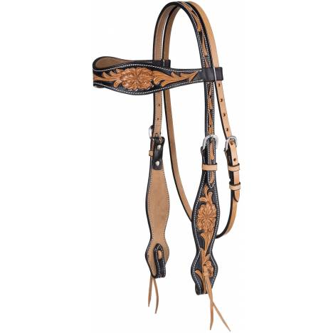 Tough-1 Two Tone Brownband Floral Headstall