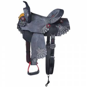 Silver Royal Black Widow Barrel Saddle