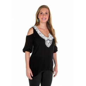 Noble Outfitters Harper Cold Shoulder Top - Ladies