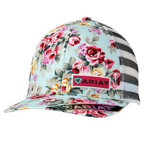 Ariat Ladies Stripe Floral Ball Cap