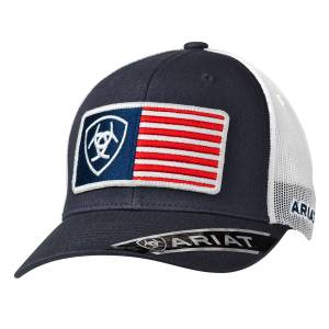 Ariat Mens USA Flag Patch Ball Cap
