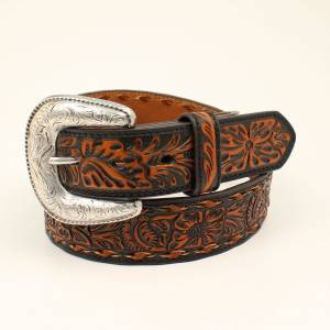Ariat Floral Embossed Buckle Belt - Black/Tan - Mens