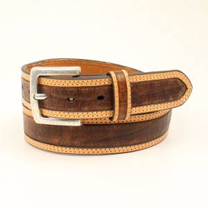Ariat Crocodile Pattern Tan Edge Belt - Mens