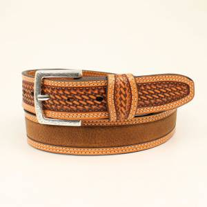 Ariat Classic Strip Basket End Distressed Belt - Mens