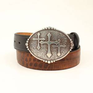Ariat Crocodile Print Three Cross Belt - Mens