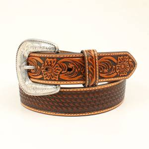 Ariat Floral Embossed Buckle Belt - Tan - Mens