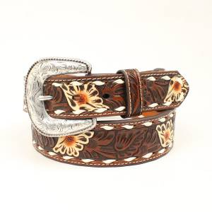 Ariat Floral Embossed Buckle Belt - Brown/Tan Flowers - Mens