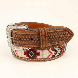 Ariat Basket Weave Beaded Belt - Mens