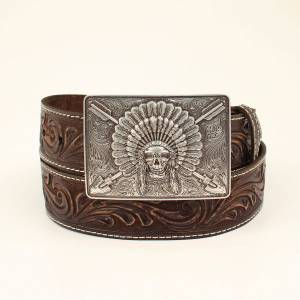 Ariat Native Chief Skull Belt - Mens