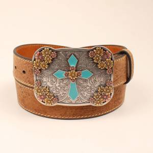 Ariat Vintage Cross Floral Buckle Belt - Ladies
