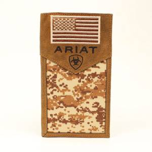 Ariat Digital Camo Flag Rodeo Wallet
