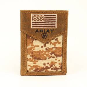 Ariat Digital Camo Flag Tri-Fold Wallet