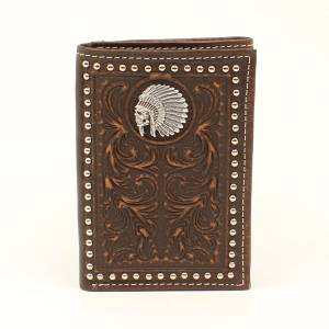 Ariat Chief Skull Embossesd Tri-Fold Wallet