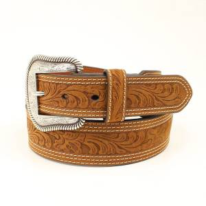 Nocona Mens Tappered Embossed Stitched Edge Belt