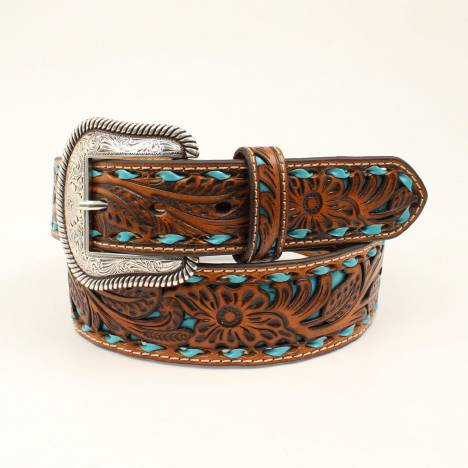 Nocona Mens Tappered Laced Underlay Belt - Turquoise