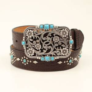 Nocona Ladies Turquoise Rivets Floral Belt
