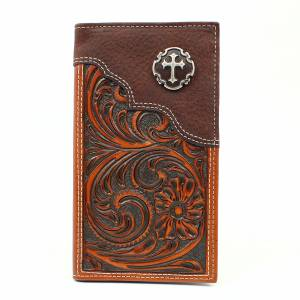 Nocona Floral Embossed Cross Concho Rodeo Wallet
