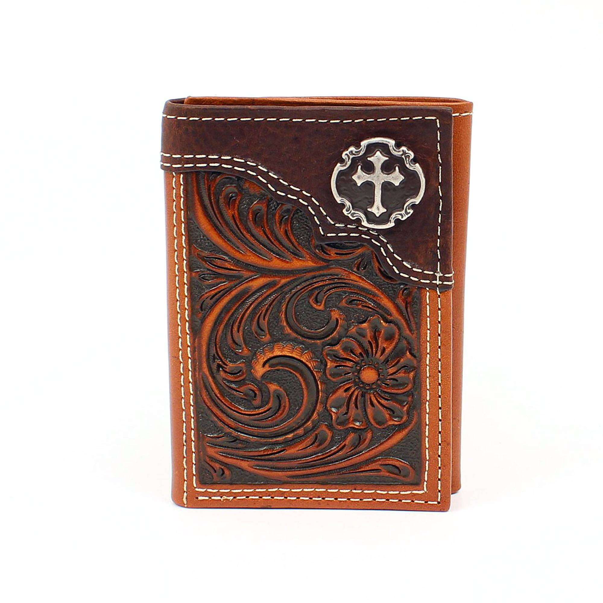 Ariat Men/'s Caiman Scroll Top Cricle Trifold Western Wallet