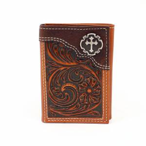 Nocona Floral Embossed Cross Concho Tri-Fold Wallet