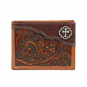 Nocona Floral Embossed Cross Concho Bi-Fold Wallet