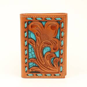 Nocona Floral Turquoise Underlay Tri-Fold Wallet