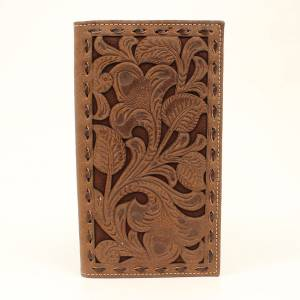 Nocona Floral Chocolate Underlay Rodeo Wallet
