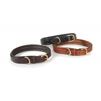 Shires Padded Leather Dog Collar